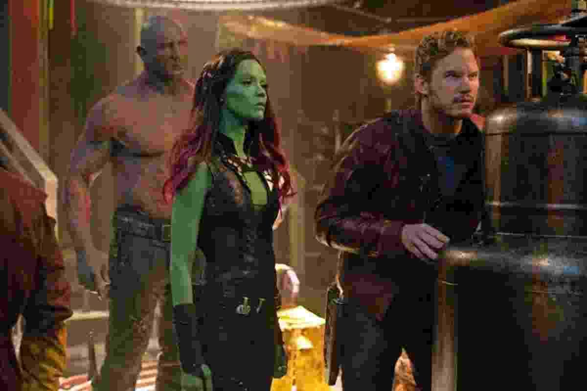 Dave Bautista, Zoe Saldana e Chris Pratt em cena de Os Guardiões da Galáxia - Divulgação