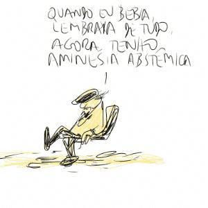 """30.jul.2014 - O cartunista Jaguar na abertura da Flip já soltando suas tiradas: """"Quando bebia lembrava de tudo, agora tenho amnésia abstêmica"""". - Orlando"""