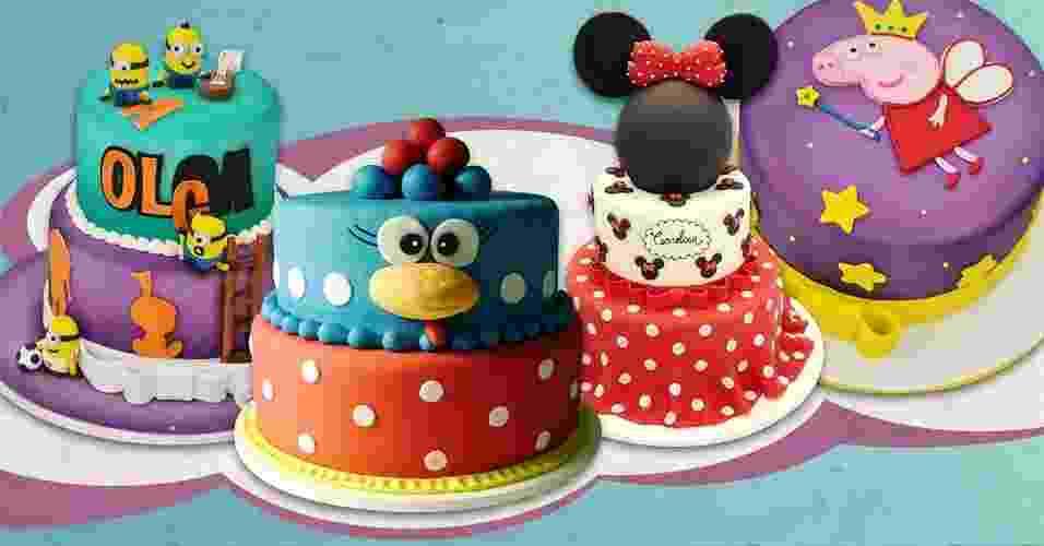 Personagens clássicos e mais atuais fazem a diferença na decoração dos bolos de festas de aniversário. Além de chamar atenção, eles ficam lindos nas fotos e as crianças adoram. Por Pamela Marul, do UOL, em São Paulo - Arte/UOL