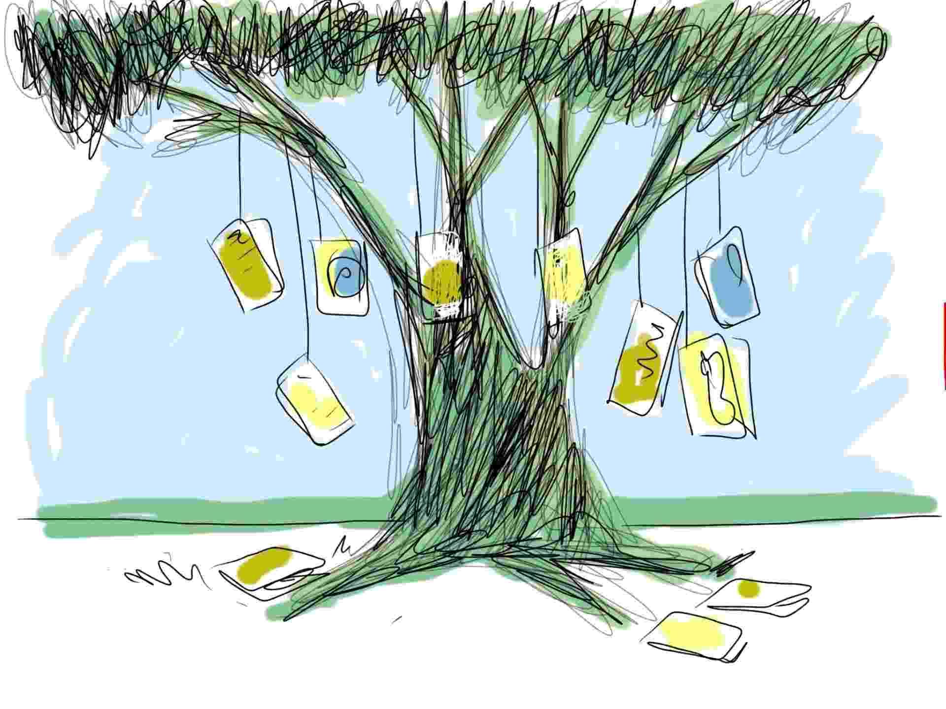 31.jul.2014 - Orlando descobriu que em Paraty, durante a Flip, livro dá até em árvore --literalmente - Orlando