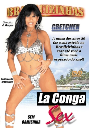"""10.out.2006 - A cantora Gretchen fez um filme pornô """"La Conga Sex"""", em que contracena com o noivo Guto Guiter. Essa foi a foto da capa do longa"""
