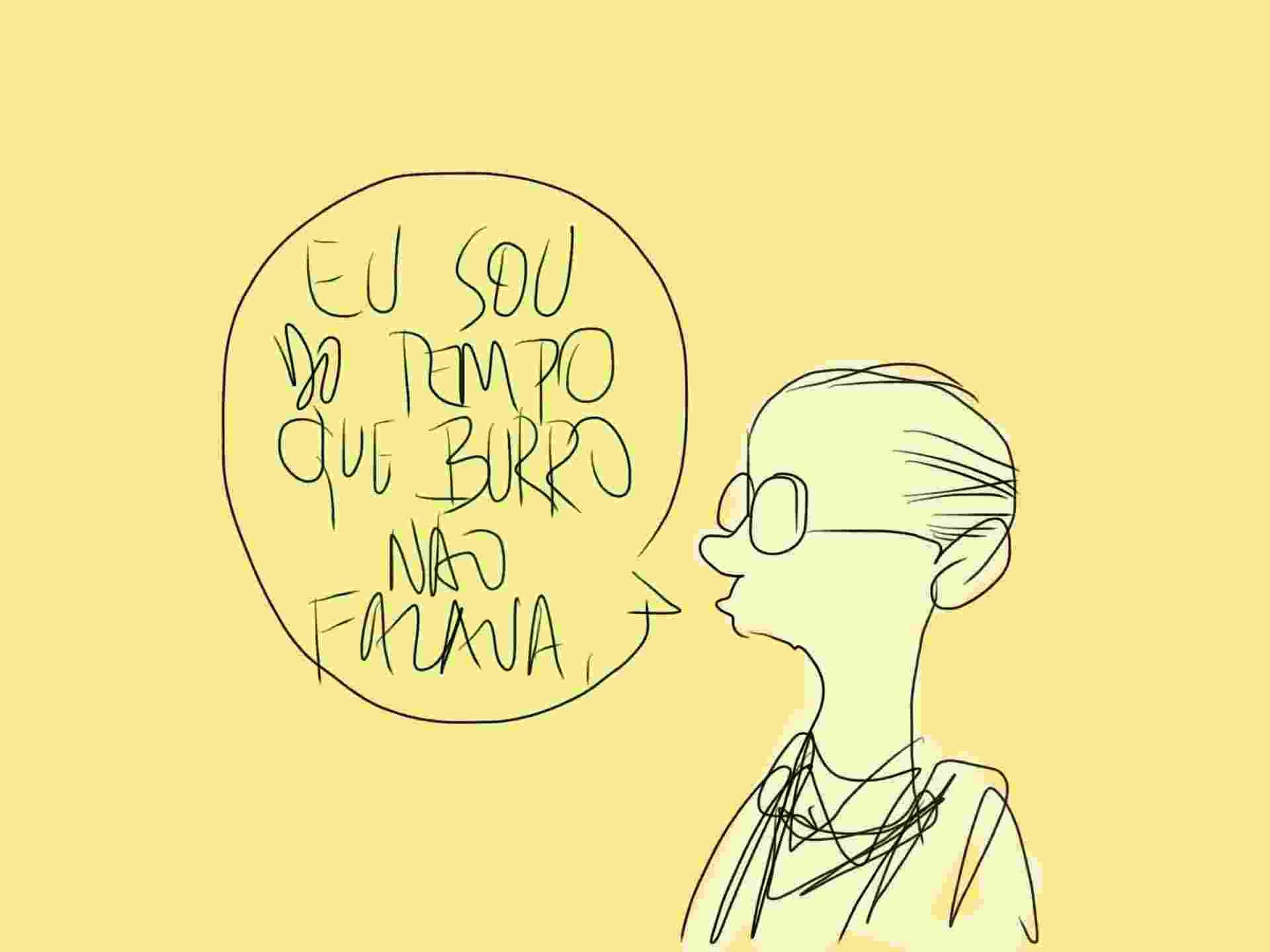 """1.ago.2014 - Amigo de Millôr Fernandes, o caricaturista Cassio Loredano foi um dos convidados da mesa que lembrou o """"guru do Méier"""". """"Eu sou do tempo que burro não falava"""", disse - Orlando"""