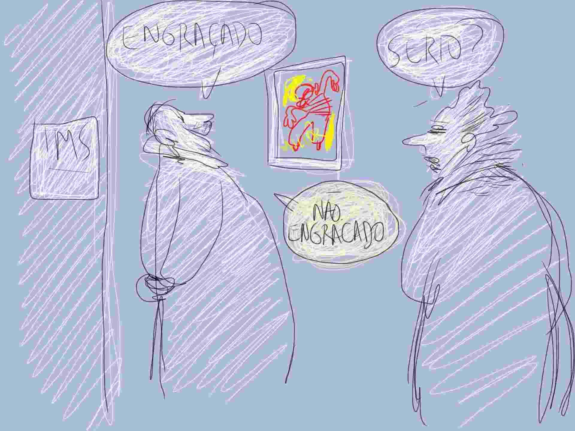 """1.ago.2014 - Visitantes debatem exposição """"Millôr: 100 Frases + 100 Desenhos"""", promovida pelo Instituto Moreira Salles na Flip - Orlando"""