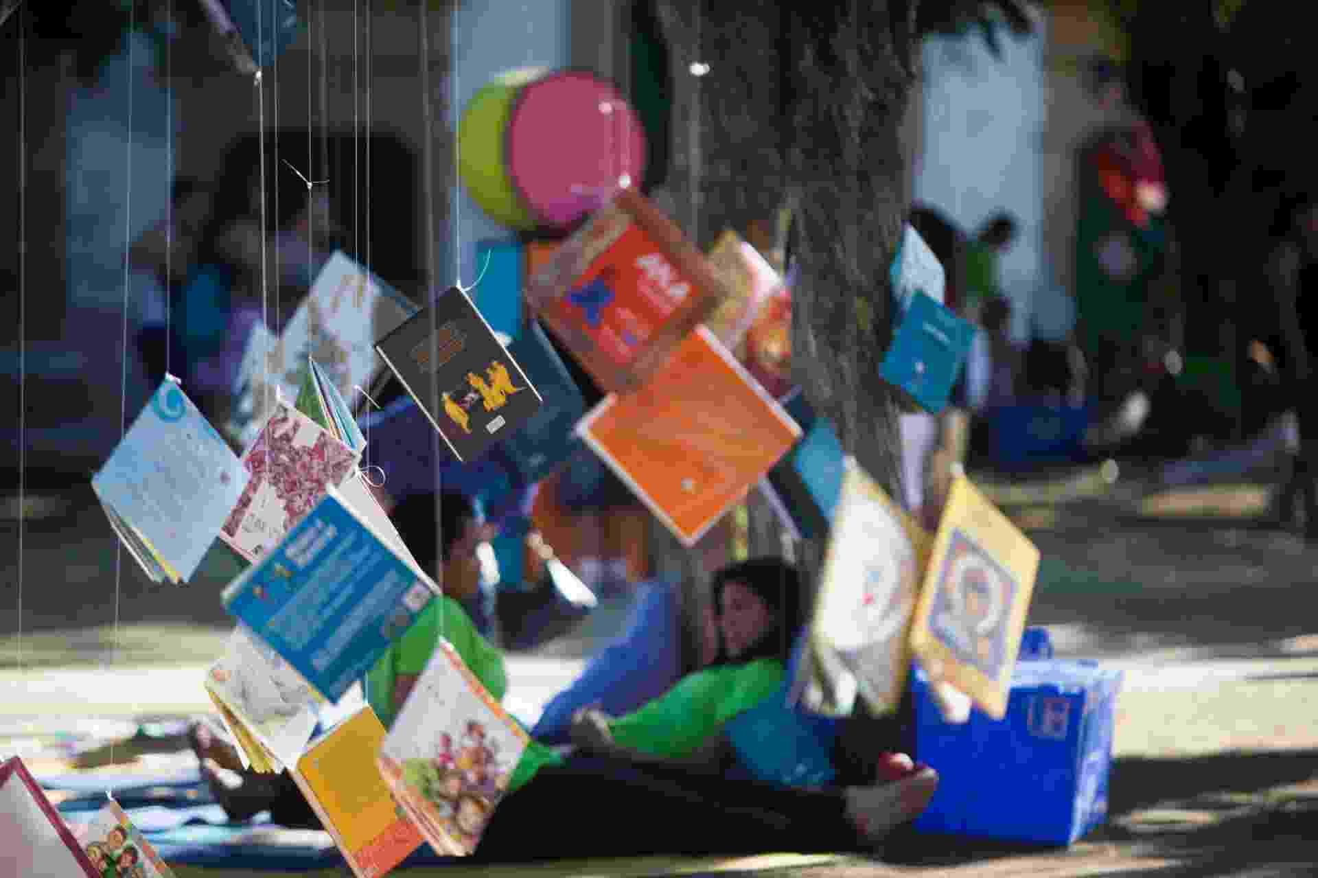 3.ago.2014 - Livros dão em árvore em Paraty durante a Flip - Danilo Verpa/Folhapress