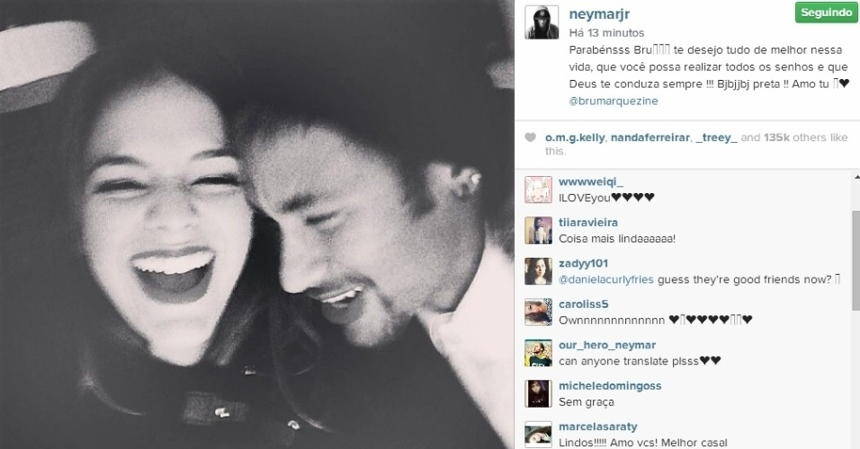 4.ago.2014 - Em meio a rumores de uma crise no relacionamento, Neymar parabenizou a namorada Bruna Marquezine, que completa 19 anos nesta segunda.