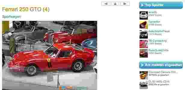 Ferrari 250 GTO anúncio - Reprodução - Reprodução