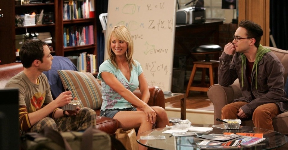 "Jim Parsons, Kaley Cuoco e Johnny Galecki em cena do ""The Big Bang Theory"""