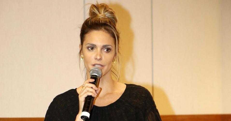 """5.ago.2014 - Fernanda Lima participa do lançamento do """"Criança Esperança"""" no Projac, no Rio"""