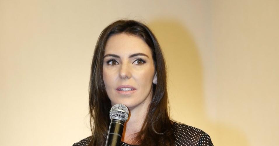 """5.ago.2014 - Glenda Kozlowski participa do lançamento do """"Criança Esperança"""", no Projac, no Rio"""