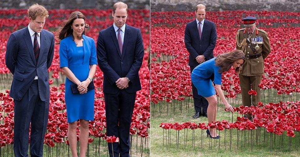 5.ago.2014 - Kate Middleton, Príncipe William e Príncipe Harry caminharam pelo jardim de 888 mil e 246 papoulas de cerâmica feito pelo artista Paul Cummins em homenagem aos mortos na Primeira Guerra Mundial, que durou de 1914 a 1918, na Torre de Londres, na Inglaterra