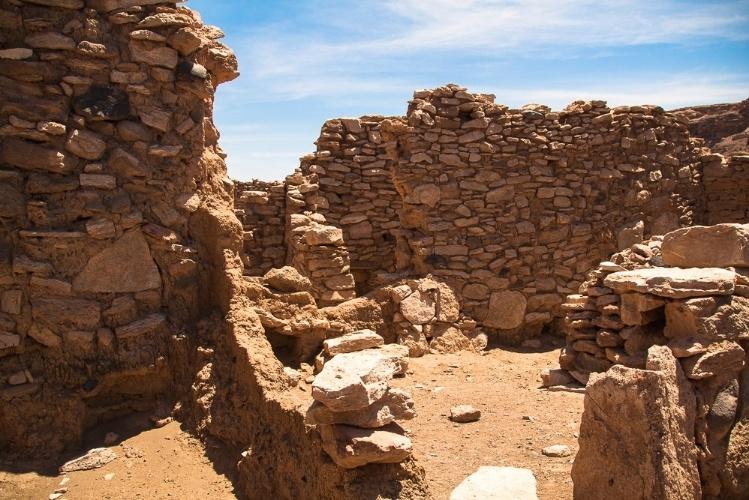 Estruturas da fortaleza de Pukará de Lasana, no Chile, construída no século 12