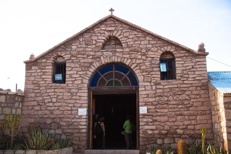 Fachada da igreja de San Lucas, em Toconao, que fica a apenas 38km de San Pedro de Atacama, no Chile