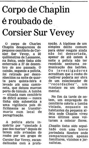 """Manchete da """"Folha de São Paulo"""" sobre caso envolvendo roubo do túmulo de Charles Chaplin"""