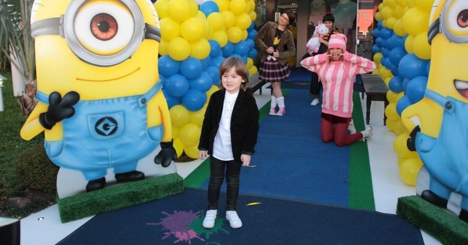 06.ago.2014- Pietro, filho de Otávio Mesquita e Melissa Wilman comemora seu aniversário de 5 anos em um buffet em São Paulo. A decoração com o tema