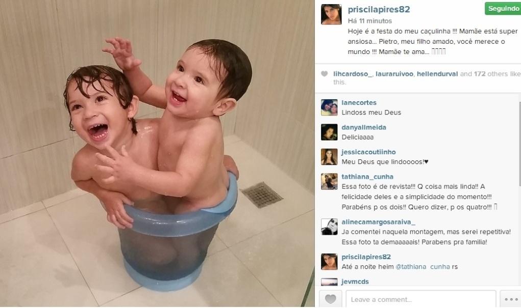 6.ago.2014 - A ex-BBB Priscila Pires parabenizou o caçula, Pietro, pelo seu aniversário de 1 ano em sua conta do Instagram