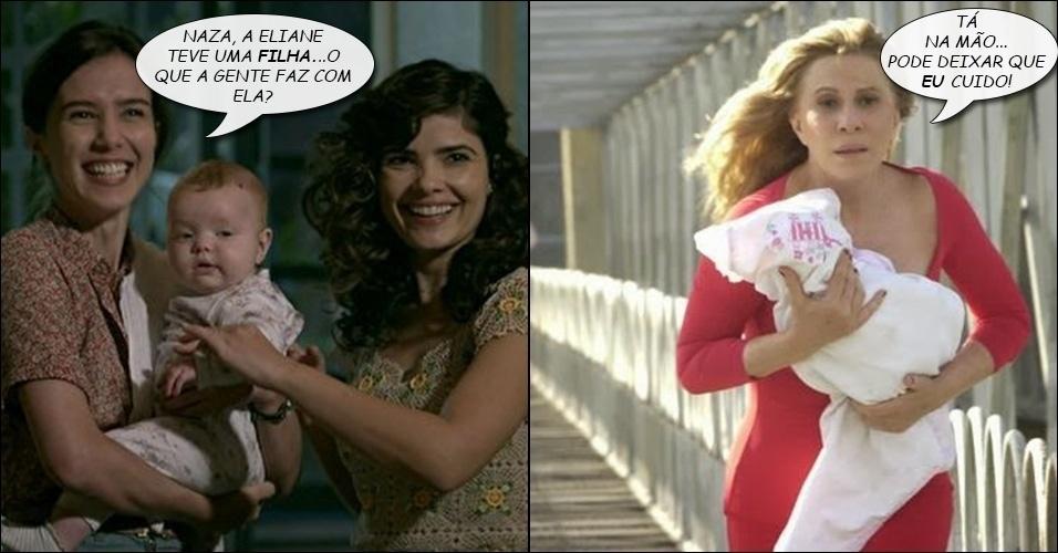"""7.ago.2014 - Pró-ativa, Nazaré Tedesco (Renata Sorrah), de """"Senhora do Destino"""", se oferece para cuidar da sobrinha recém-nascida de Cora (Drica Moraes), de """"Império"""""""