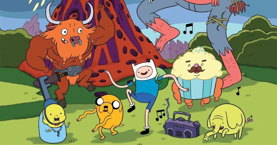"""Em """"Hora de Aventura"""", que chega a sua sexta temporada este ano, Finn e Jake vão festas com todo o tipo de criatura da Terra de Ooo"""