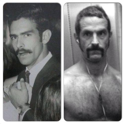 """10.ago.2014 - O ator Iran Malfitano fez uma montagem comparando uma foto sua com uma de seu pai: """"A foto é repetida porque a mensagem é eterna: TE AMO"""""""