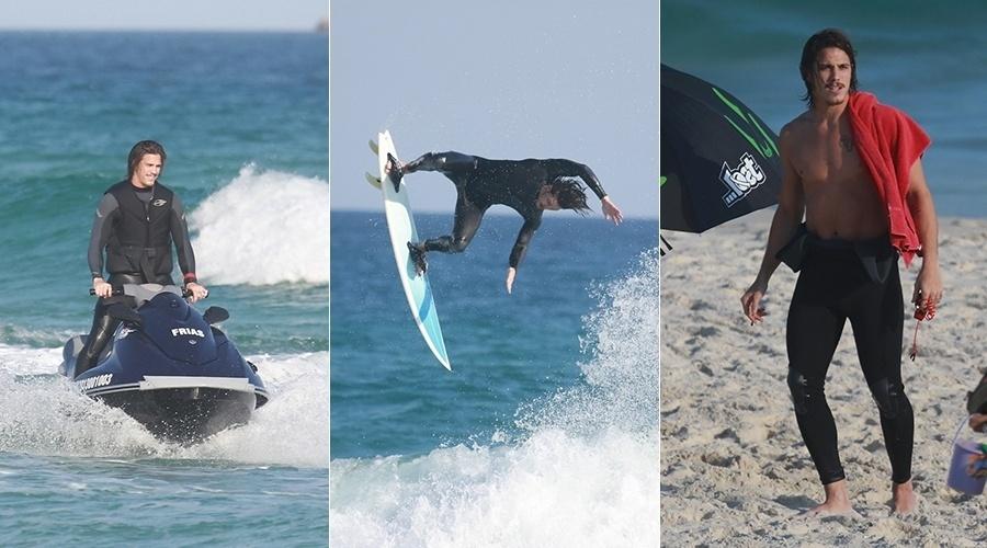 """11.ago.2014 - Rômulo Neto surfou na praia da Barra da Tijuca, na zona oeste do Rio. O ator de """"Império"""" se arriscou na modalidade tow-in e fez algumas manobras"""