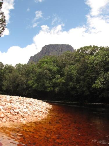 Praia de pedras é um dos pontos de parada na subida do rio Carrao. De lá já é possível ver os grandes tepuis