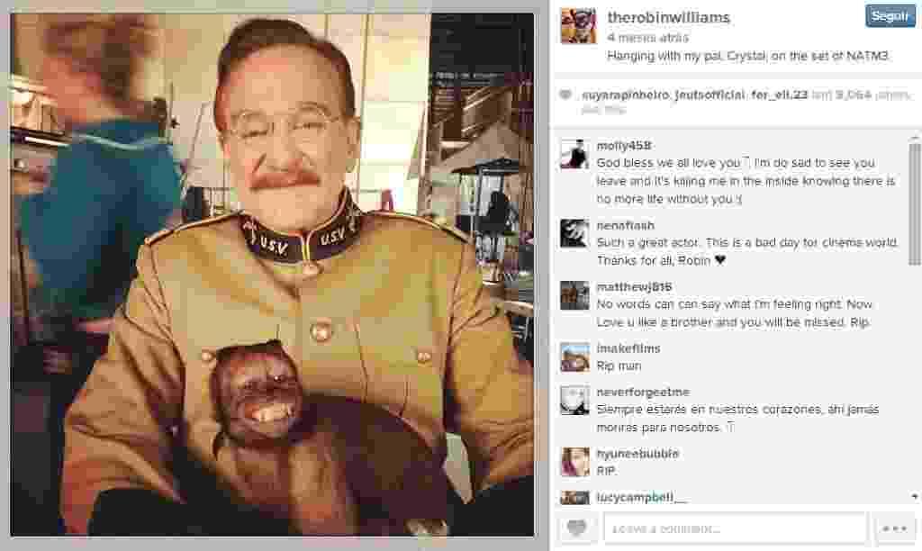 """Robin Williams postou foto nos bastidores de """"Uma Noite no Museu 3"""" com o macaco Crystal - Reprodução/Instagram/therobinwilliams"""