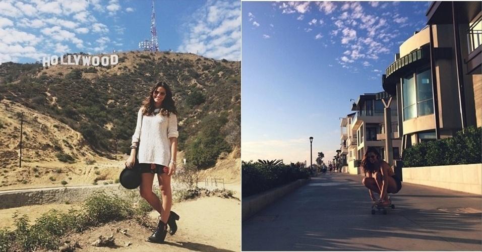12.ago.2014 - Em Los Angeles, Bruna Marquezine posa para foto em frente ao letreiro Hollywood. A atriz também aproveitou para compartilhar uma imagem na qual aparece andando de skate pelas ruas da cidade. Marquezine viajou aos Estados Unidos a convite do produtor Uri Singer para gravar o filme
