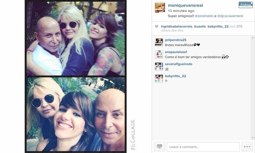 12.ago.2014 - Internada em uma clínica psiquiátrica no Rio, Monique Evans recebeu visita dos amigos, o produtor Zé Reinaldo e a Dj Caca Werneck. A ex-modelo divulgou registro por meio do seu perfil do Instagram. Monique deve deixar o local ainda esta semana