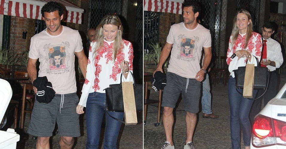 12.ago.2014 - O jogador do Fluminense Fred esteve com a namorada, Paula Armani, em um restaurante no Leblon, no Rio.