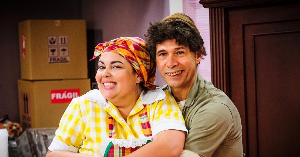 """Fabiana Karla e Nelson Freitas eram Lucicreide e Carretel no """"Zorra Total"""" de 2004"""