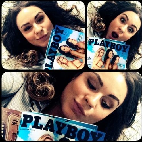 """Fernanda Lacerda, a Mendigata do """"Pânico"""", ainda morena posa com a """"Playboy"""" de janeiro, em que foi capa ao lado de Veridiana Freitas e Aricia Silva"""