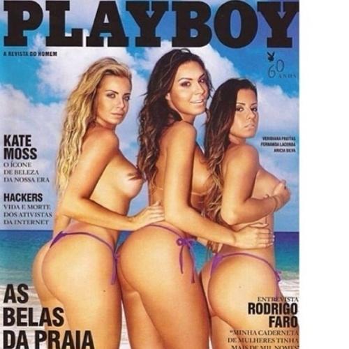"""Fernanda Lacerda foi capa da edição de janeiro da """"Playboy"""" ao lado de Veridiana Freitas e Aricia Silva"""