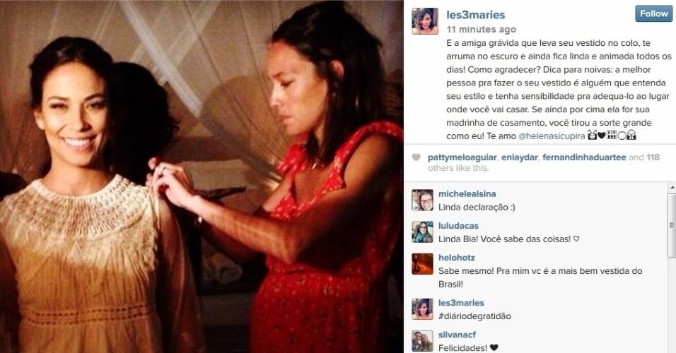 13.ago.2014 - Bia Antony, ex-mulher do jogador Ronaldo, compartilhou com seus seguidores do Instagram foto onde aparece se preparando para seu casamento com Marcelo Ciampolini