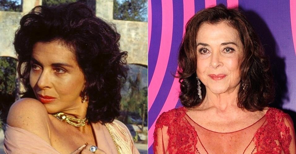 """Betty Faria era a sensual protagonista Tieta, que volta à cidade de Santana do Agreste após 20 anos para se vingar de toda hipocrisia dos moradores. Depois de uma passagem pelo SBT, emissora na qual fez """"Uma Rosa com Amor"""", voltou à Globo, onde participou de """"As Brasileiras"""" (2012) e """"Avenida Brasil"""" (2012). Atualmente pode ser vista em """"Boogie Oogie"""" como a personagem Madalena"""