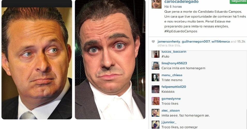 Marvio Lucio mostra imagem caracterizado de Eduardo Campos: