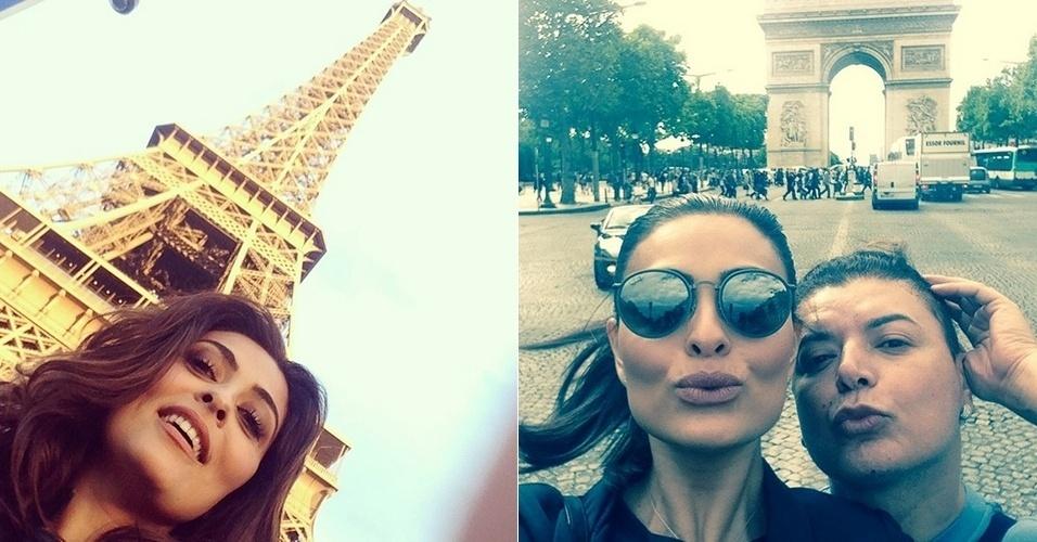 14.ago.2014 - Juliana Paes curte férias em Paris e aproveita para postar em fotos em cartões-postais da capital francesa, como a torre Eiffel.