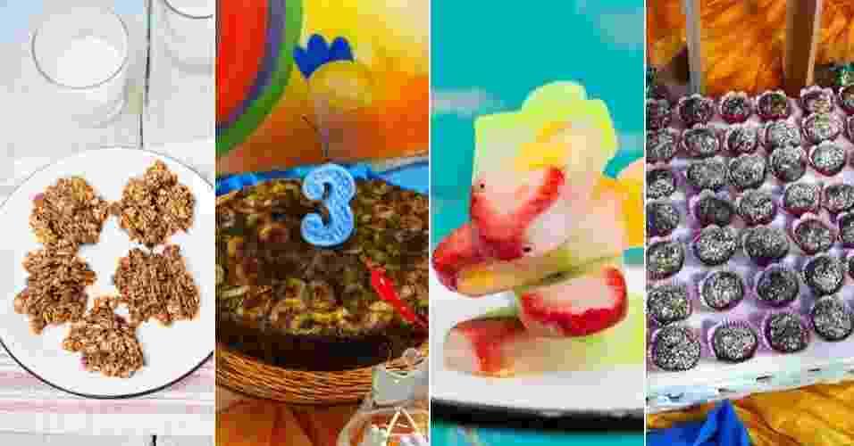 montagem para destacar álbum de Gravidez e Filhos com guloseimas saudáveis para festas infantis - Montagem/Fotos Elisa Correa/Divulgação e Divulgação