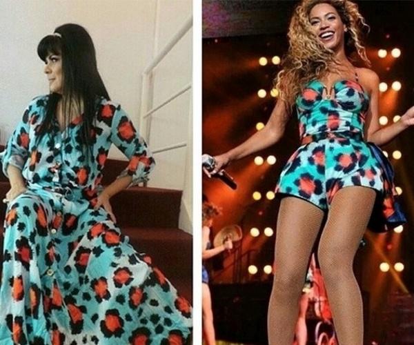 14.ago.2014 - A apresentadora Mara Maravilha postou em seu Instagram uma foto em que está usando um vestido inspirado em uma estampa já vestida por Beyoncé