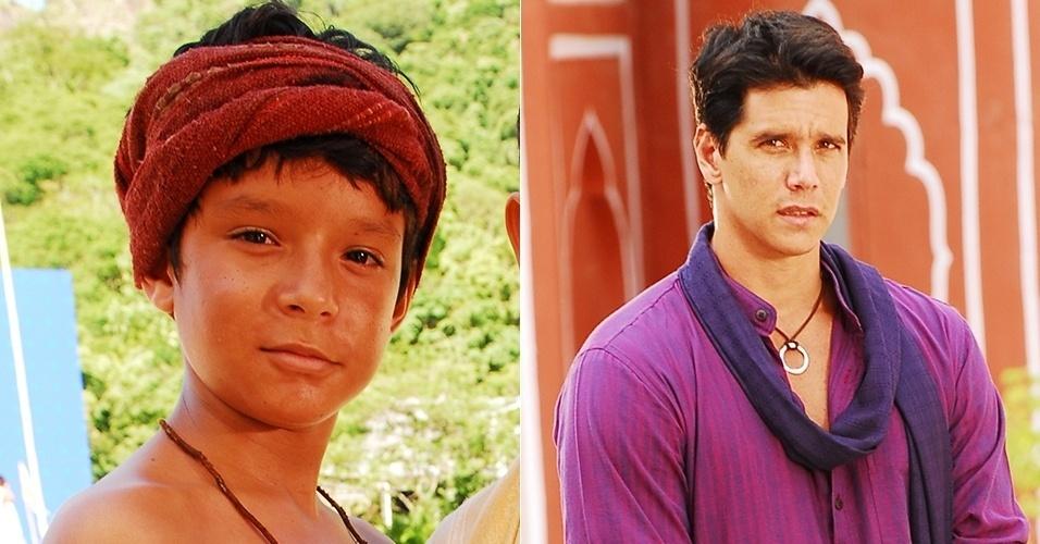 """Dyjhan Henrique e Marcio Garcia deram vida a Bahuan, na primeira e segunda fase respectivamente de """"Caminho das Índias"""" (2009). O moço, um dalit, vive um amor impossível com Maya (Juliana Paes)"""