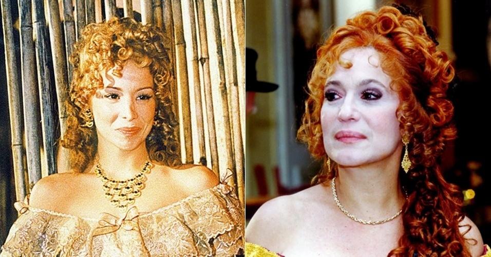 """Em """"Chiquinha Gonzaga"""" (1999), Danielle Winits interpretou Suzette Fontain, proprietária de uma importante cabaré da época. Na segunda fase, ela é vivida por Susana Vieira"""