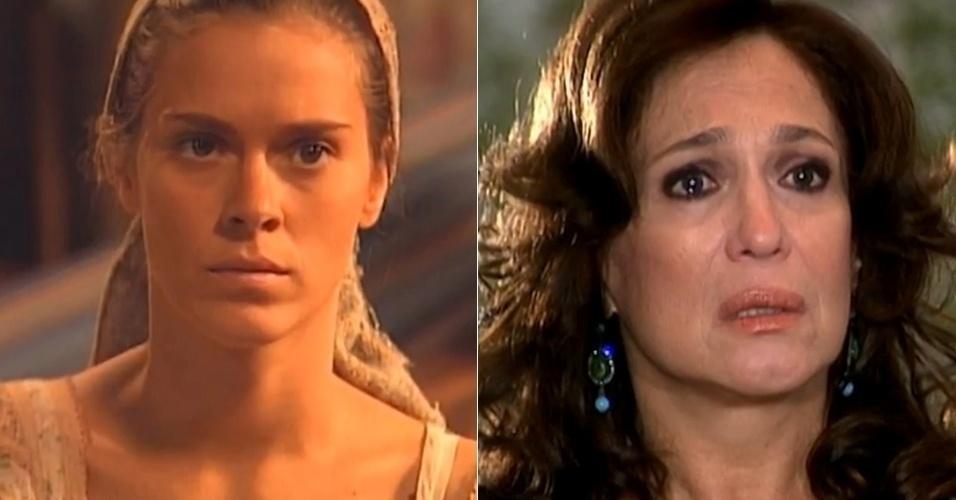 """Em """"Senhora do Destino"""" (2004), Carolina Dieckmann faz a nordestina Maria do Carmo, que tem sua filha roubada por Nazaré na primeira fase da trama. Anos depois, ela se torna uma mulher segura e bem sucedida interpretada por Susana Vieira"""