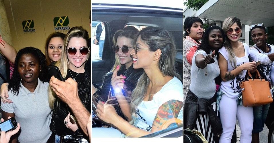 16.ago.2014 - Ex-BBBs Vanessa e Clara são assediadas em aeroporto no Rio de Janeiro
