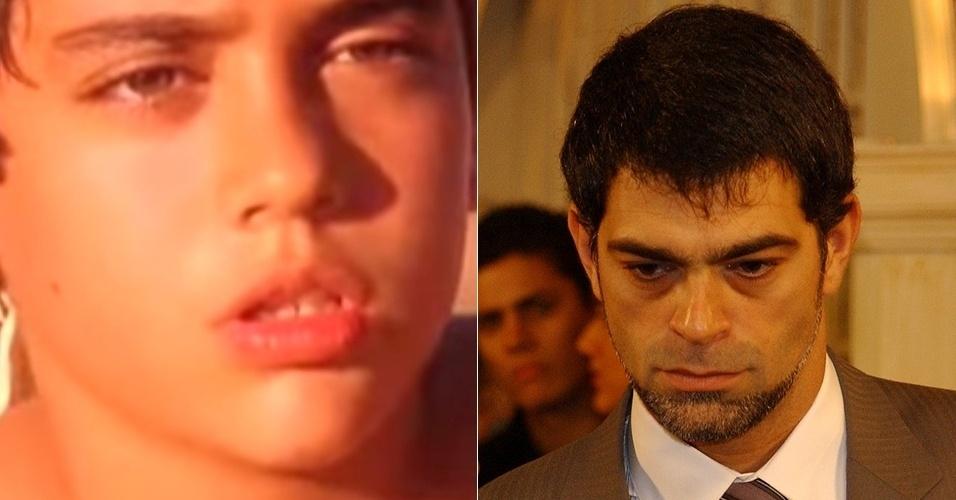 """Miguel Rômulo era Reginaldo, o filho mais velho de Maria do Carmo em """"Senhora do Destino"""" (2004). O menino cresce e se torna um homem ambicioso vivido por Eduardo Moscovis"""