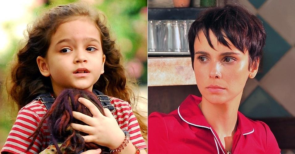 """Rita (Mel Maia) foi jogada no lixão pela madrasta perversa nos primeiros capítulos de """"Avenida Brasil"""" (2012). A personagem volta como Nina, interpretada por Débora Falabella, para se vingar de Carminha (Adriana Esteves)"""