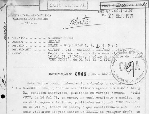 Documento emitido pela Aeronáutica em 1971 determinava a morte de Glauber Rocha, avalia Comissão da Verdade do Rio de Janeiro - Divulgação/Comissão da Verdade do Rio de Janeiro