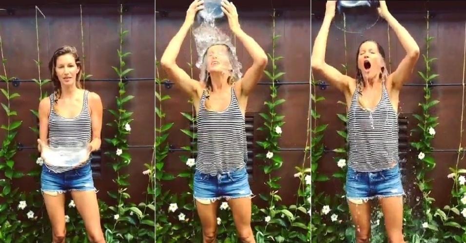 18.ago.2014 - Gisele Bündchen participa do desafio do balde de gelo, campanha para arrecadar dinheiro para pesquisa e combate à esclerose lateral amiotrófica