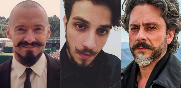 Hugh Jackman, Chay Suede e Alexandre Nero (da esq. para dir.): o bigode de ponta modelada vai sair das telas para a vida real? - Reprodução/Instagram/Globo/Alex Carvalho