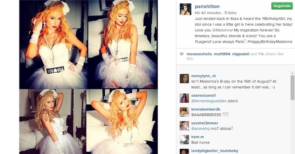 19.ago.2014 - Com três dias de atraso, Paris Hilton homenageia Madonna por seu aniversário