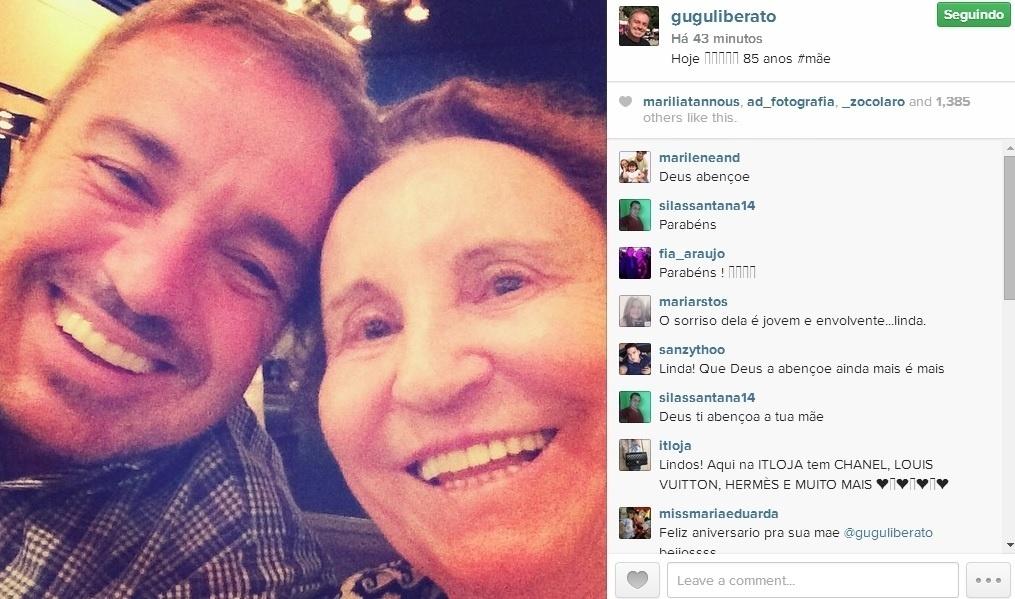 19.ago.2014 - No Instagram, Gugu Liberato comemora o aniversário da mãe, Maria do Céu.
