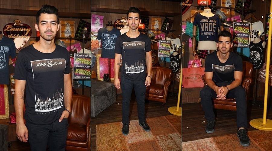 20.ago.2014 - Joe Jonas prestigiou o lançamento de uma linha de ginástica de uma grife jovem em uma loja em São Paulo. O cantor desembarcou nesta quarta na cidade e vai passar ainda pelo Rio de Janeiro. Ele só deve deixar o Brasil no sábado