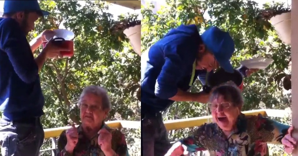 "20.ago.2014- Aos 83 anos, Palmirinha toma ""banho"" de gelo e desafia Celso Portiolli e Luiz Bacci"